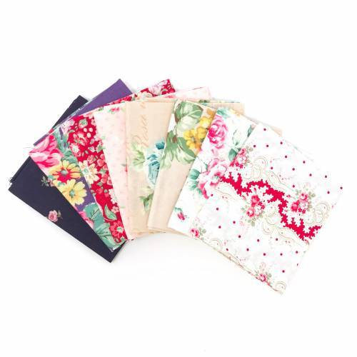 Pacchetto di Tessuto Giapponese Beige, Rosso e Blu - 8 da 33 x 35 cm