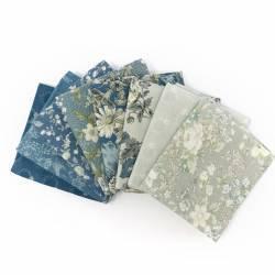 Pacchetto di Tessuto Giapponese Azzurro Polvere e Grigio - 8 da 33 x 35 cm