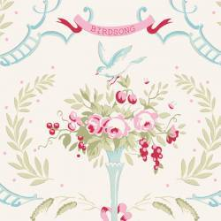 Tilda 110 Old Rose Birdsong, Tessuto Fiori e Uccelli su Bianco Colomba