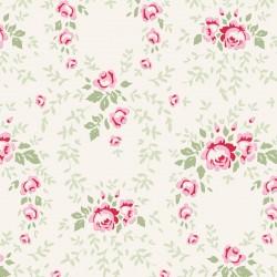 Tilda 110 Old Rose Lucy, Tessuto Rose Rosse su Beige