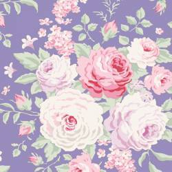Tilda 110 Old Rose Lydia, Tessuto con bouquet di grandi Rose su Blu