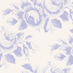 Tilda 110 Old Rose Mary, Tessuto con Rose Stilizzate Blu su Beige