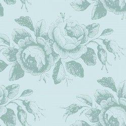Tilda 110 Old Rose Mary, Tessuto con Rose Stilizzate su Ottanio