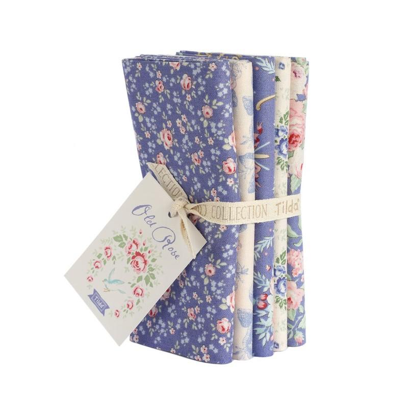 Tilda Old Rose Fat Quarter, Pacchetto di 5 tessuti 50 x 55 cm, colore Blu