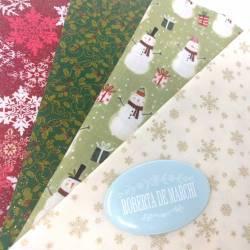 Pacchetto di 4 Tessuti di Natale, Snowman
