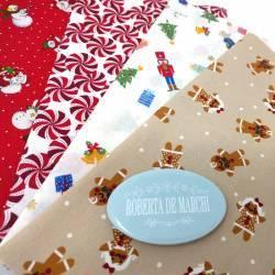Pacchetto di 4 Tessuti di Natale, Christmas Friends