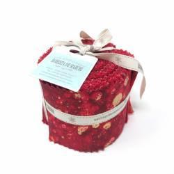 Jelly Roll con 20 Strisce di Tessuti di Natale, Rosso e Oro
