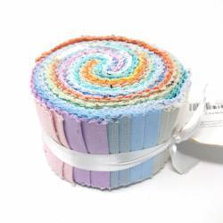 Jelly Roll con 30 Strisce di Tessuti Solidi, Colori Pastello