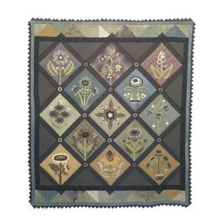 A Rainbow Garden Quilt - Cartamodello Quilt con Applique in Lana, 64 x 74 pollici, by Kathi Campbell