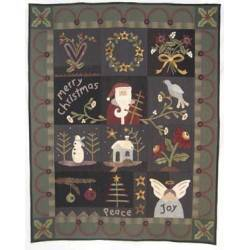 Merry Christmas - Cartamodello Quilt di Natale 12 Blocchi, 58 x 72 pollici, by Kathi Campbell