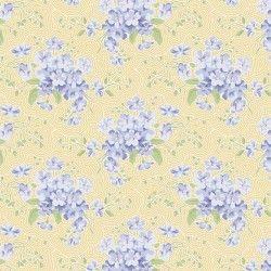 Tilda 110 Happy Campers Primrose Eggnog, Tessuto Giallo con Bouquet di Fiori
