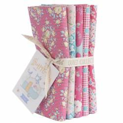 Tilda Happy Campers Fat Quarter Bundle 5 fabrics, 50x55cm Rose