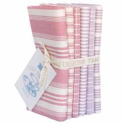 Tilda Tea Towel Basics, Bundle 6 Fat Quarter 50 x 55 cm - RED/ PLUM , rosso e prugna