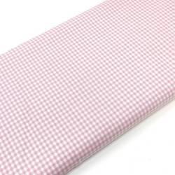 Tessuto Tinto in Filo Fondo Bianco con Quadretti Rosa, h145