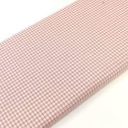 Tessuto Tinto in Filo Fondo Bianco con Quadretti Rosa, h160