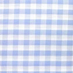 Tessuto Tinto in Filo Fondo Bianco con Quadretti Azzurri, h140