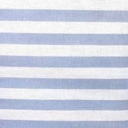 Tessuto Tinto in Filo Fondo Bianco con Righe Azzurro Polvere Scuro, h150