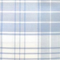 Tessuto Sostenuto Tinto in Filo Fondo Bianco con Quadri Azzurri, h140