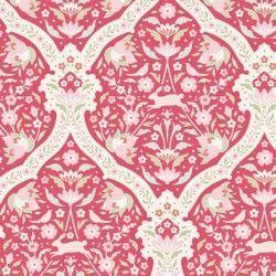 Tilda 110 Bon Voyage Hare Tile Red, Tessuto Lepri Uccelli e Fiori su Rosso