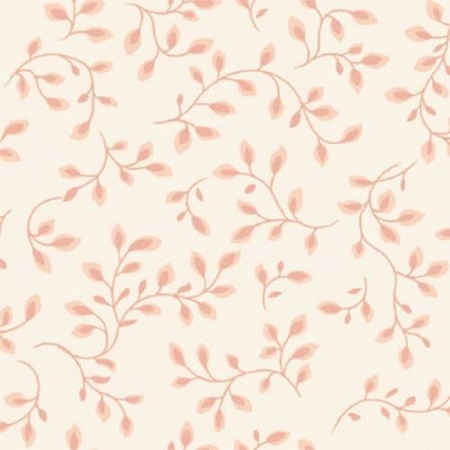 Henry Glass Folio 108 Pale Pink, Tessuto per Retro Quilt Rosa Pallido con Foglie