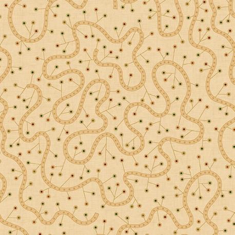 Henry Glass Spiced 108 Beige, Tessuto per Retro Quilt Beige con Riccioli