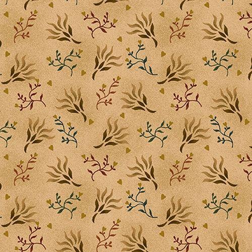 Henry Glass Spiced 108 Beige, Tessuto per Retro Quilt Beige con Piante e Cuori