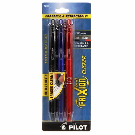 colore: Nero//Blu//Rosso Pilot FriXion Ball punta media Set di 3 penne a sfera