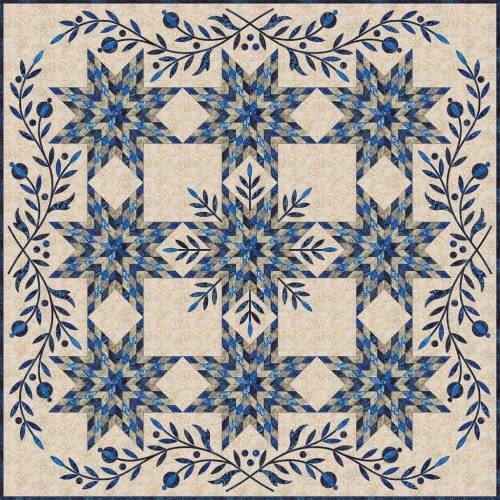 Laundry Basket Quilts, Snowflake - Cartamodello Quilt 73 x 73 pollici