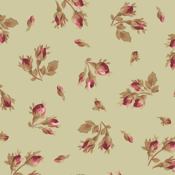 Maywood Studio, Tessuto Verde Chiaro con Rose - Burgundy & Blush, Tossed Rose Buds