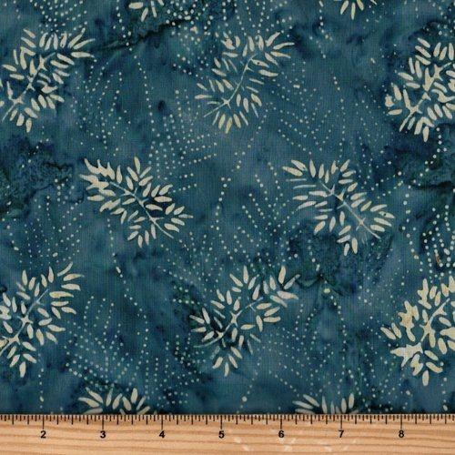 Moda Fabrics Blue Barn Batiks, Tessuto Batik Blu di Mezzanotte con Foglie