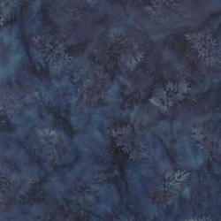 Moda Fabrics Blue Barn Batiks, Tessuto Batik Blu Indigo con Foglie
