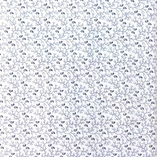 Moda Fabrics Lexington, Tessuto Bianco con Fiori e Rami