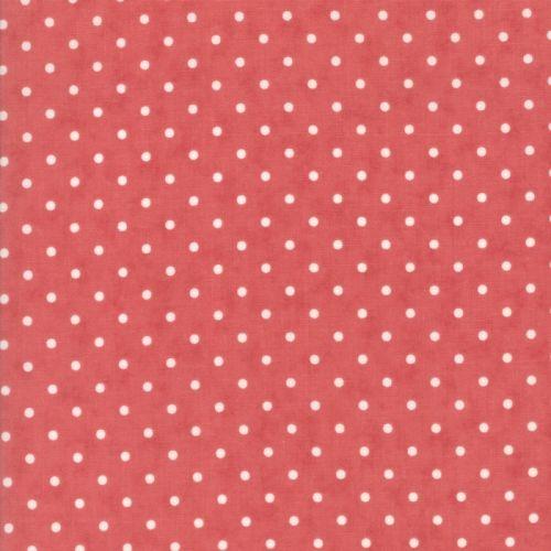 Moda Fabrics Poetry Prints, Tessuto Rosso a Pois