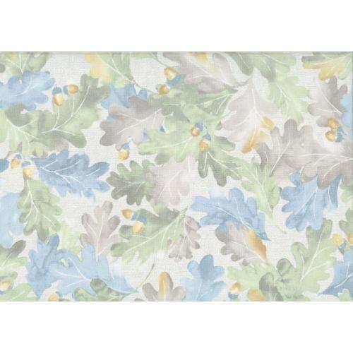 Lecien Centenary Collection 25th by Yoko Saito, tessuto con fondo beige e foglie verdi marroni e blu