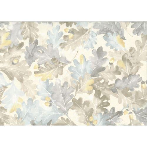 Lecien Centenary 25th by Yoko Saito, tessuto beige con foglie e ghiande