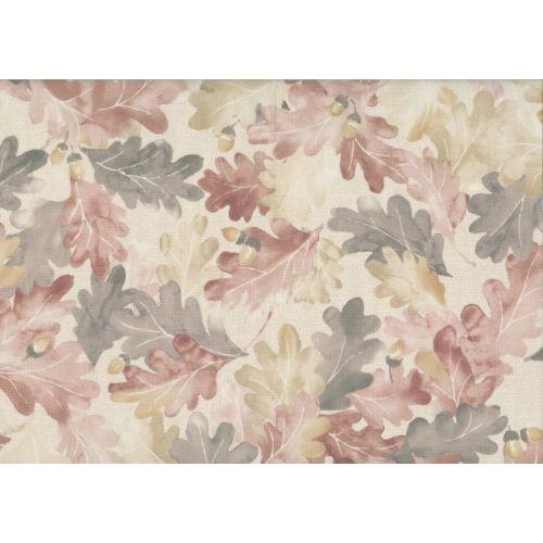 Lecien Centenary Collection 25th by Yoko Saito, tessuto fondo beige e foglie marroni e rosa