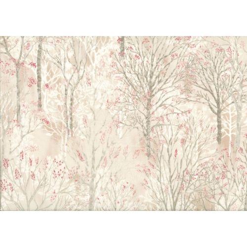 Lecien Centenary Collection 25th, tessuto fondo beige con alberi rosa
