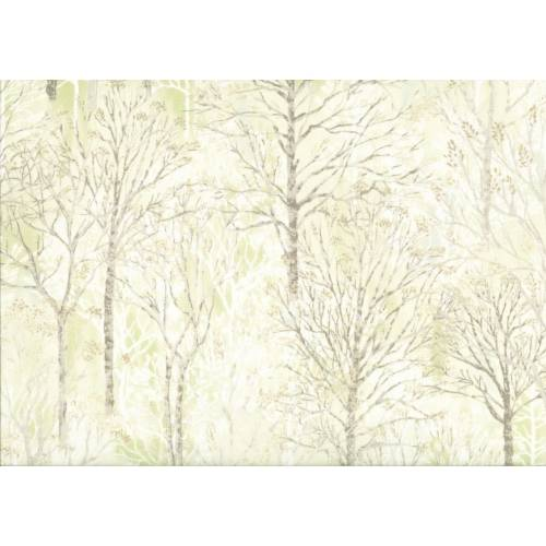 Lecien Centenary 25th by Yoko Saito, tessuto verde con alberi