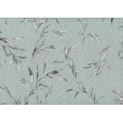 Lecien Centenary Collection 25th, tessuto fondo grigio con foglie marroni