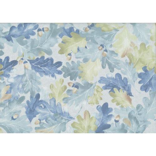 Lecien Centenary 25th by Yoko Saito, tessuto azzurro con foglie e ghiande