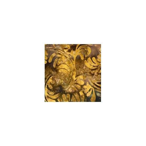 Tessuto Batik Marrone con foglie dorate
