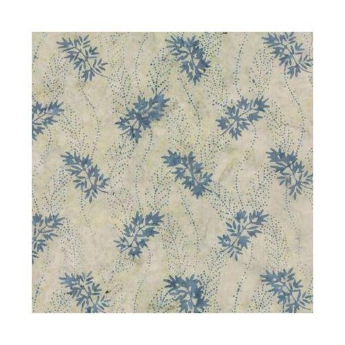 Moda Fabrics Blue Barn Batiks, Tessuto Batik Beige con Foglie Azzurre