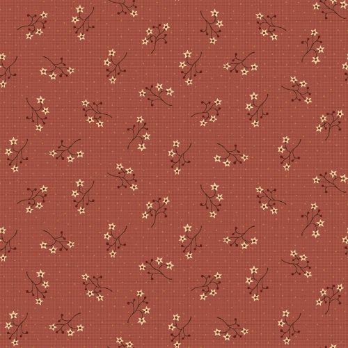 Henry Glass, On The 12th Day by Anni Downs - Tessuto Rosso con Fiori e Bacche - 110cm