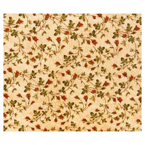 Moda Fabrics, Tessuto fondo beige con fiori verdi e rossi