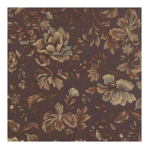 Moda Fabrics, Tessuto Indigo Fondo Marrone con Fiori