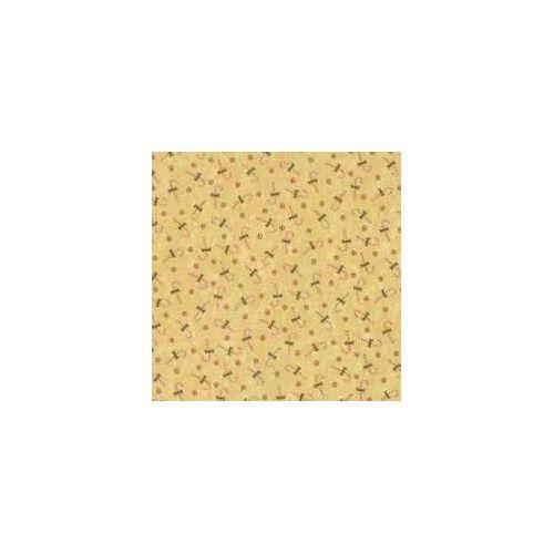 Moda Fabrics, Tessuto Fondo Giallo con Decorazioni Natalizie