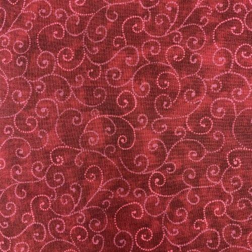 Moda Fabrics Marble Swirls, Tessuto Rosso Scuro con Ghirigori
