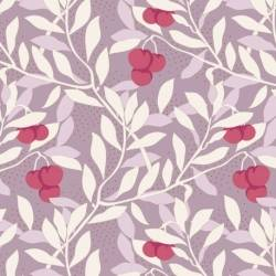 Tilda Maple Farm Cherrybush Mauve, Tessuto Viola Malva con Ciliegie e Rami