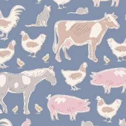 Tilda Tiny Farm Animals Blue, Tessuto Blu Animali della Fattoria