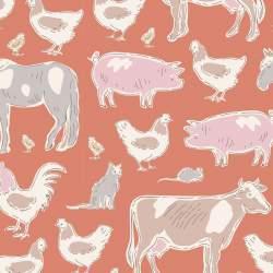 Tilda Tiny Farm Animals Ginger, Tessuto Arancione Zenzero Animali della Fattoria